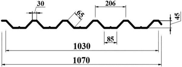 chart profnastil pk45 фото